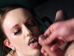 Sexy Idol Gets Jizz Shot On Her Face Gulping All The Sperm