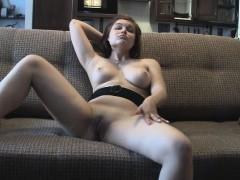 Cute Brunette Does A Quick Striptease Show