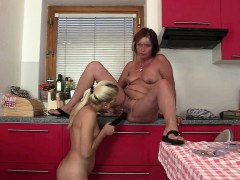 blonde-gf-toying-old-mom-pussy-on-the-knees