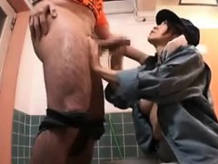 horny japanese bitch strokes a dick and takes its juices in