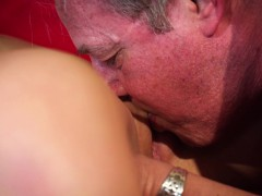 big old dude banged beautiful young slut woman blowjob jizz