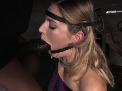 Head Bondage Submissive Gets Throat Fucked