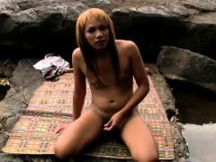 Chubby Asian Teen Ts Masturbates Tiny Girl Rod In The River