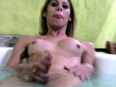 Slender Cock Girl Masturbates Her Huge Ladystick In Jacuzzi
