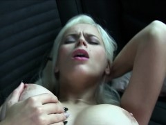 blonde gets dick between massive tits in public