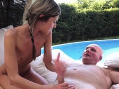Pussyfucked Teen Beauty Makes Grandpa Cum