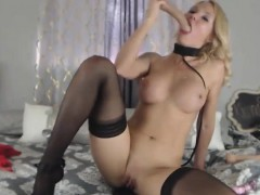 Real Sexy Busty Blonde On A Leash And High Heels