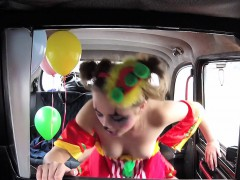 amateur slut clown fucks in fake taxi