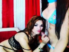 Horny Hot Shemale Duo Jerks and Fuck