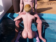 small 3d girl blonde with small tits and massive ass rides hard!