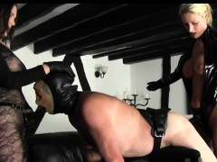 strapon beauties smashes bondaged male slave