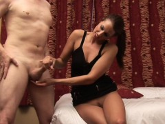 bossy cfnm girlfriend tugging hard dick