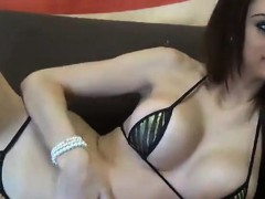 hottie in skimpy bikini webcam tease