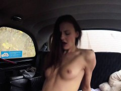 Busty With Strap On Bangs Brunette In Cab