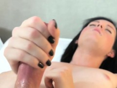 Real trap with buttplug jerks off her cock