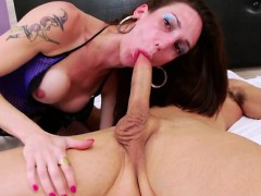 Brunette Tgirl Makes Hunk Dude Cum