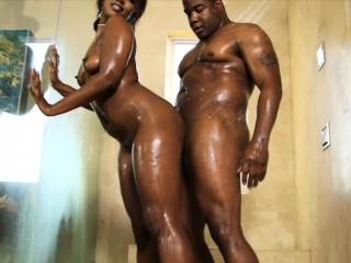 Ebony masseuse fucked by her black client after massage