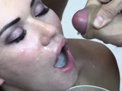 Premium Bukkake - Eva Swallows 94 Huge Mouthful Cum Loads