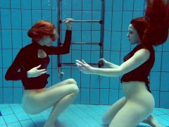 two hot teens underwater