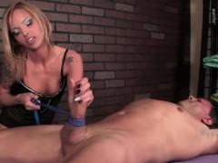 Hot Femdom Handjob By Blonde Hottie