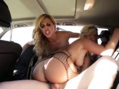 sexy pornstars sharing cock in car