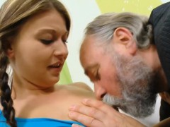 Fascinating youthful girl gets enjoys sex with old fucker