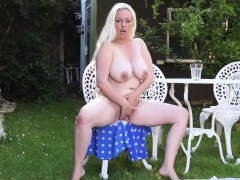Huge titted blonde Mom Fingering Herself Outdoor