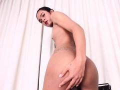 Exotic Ladyboy Beauty Wanks Meaty Cock Solo