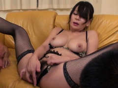 horny japanese gets juicy with large dildo, fingering twat
