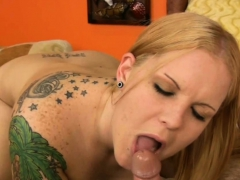 Chubby Tattooed Chick Sucking A Cock
