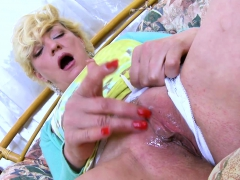 oldnanny sexy mature playing alone with herself