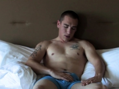 Solo Soldier Jerking Off On The Bed