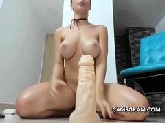 Naughty Shaved Busty Masturbating & Final Squirt