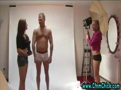 cfnm babes take control of photoshoot and make guy strip
