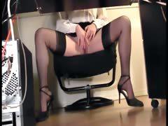 leggy-secretary-fingering-at-the-office-in-nylons