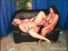 bbw-lesbo-duo-fucking-a-double-dildo-on-the-couch