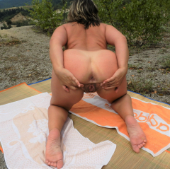 Nude wife at lake