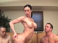 Muscle Pornstar Takes On Two Men