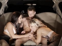 Sleek Group Sex In Limo