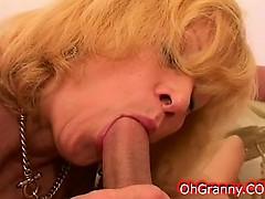 Horny Blonde Granny Sucking Young Swollen Cock