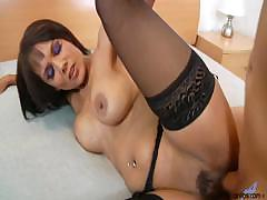 Housewife In Stockings And Garter Fucks Her Lover