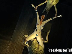 Hot 3d Brunette Babe Gets Fucked By Two Aliens