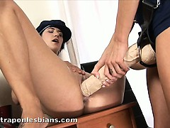 Aliz Fingers And Fucks Heidy Hard With A Huge Strapon Dildo