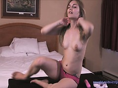 College girl Ally does her first solo video