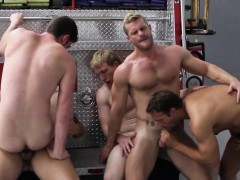 Gay Firefighters Enjoying Gang Fuck