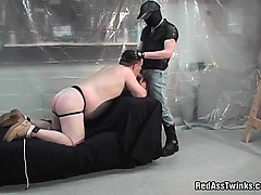 Fat Guy Dude Gets Tied And Spanked Then Sucking Cock