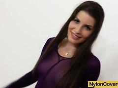 brunette-covered-in-nylons-masturbates