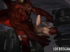 Foxy 3d Redhead Babe Getting Fucked Hard By A Demon