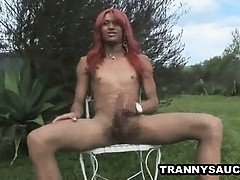 Foxy Redhead Tranny Babe Tugging His Cock Outdoors
