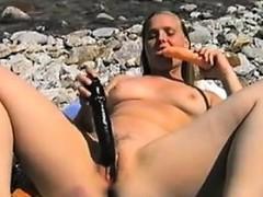 Naughty Girl Masturbating At The Beach